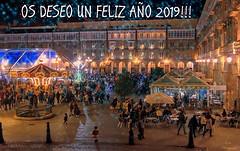 FELIZ AÑO 2019!!! / Happy New Year 2019!!! (Leo ☮) Tags: newyear nuevoaño 2019 feliz happy noche nocturna night plaza maríapita square gente people luces luz lights color diciembre december deseos wishes paz peace ☮ love amor ❤ coruña galicia