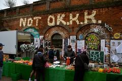 NOT OK.K.K. (Sam Tait) Tags: brick lane london hipster central capital city england graffiti street art painting poster fruit veg market stall trader kkk ok k