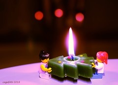 ...Burning Christmas Tree... (cegefoto (Not very active)) Tags: smileonsaterday curiouscandles christmastree kaars kerstboom lego bokeh legofigures vlam flame crazytuesday candles