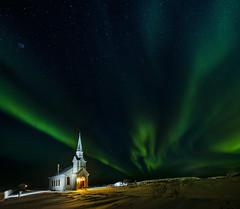 Nesseby church - VJ3_7535 (Viggo Johansen) Tags: nessebychurch church auroraborealis nordlys winter winterlight night finnmark northernnorway