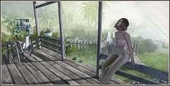 Contemplating. (Seraphina Juliesse) Tags: painting easel girl brunette lagoon house trees green vision lc luckyboards free serendipity
