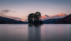 Loch Tay Sunrise (jasty78) Tags: lochtay benlawers meallgreigh longexposure snow water loch sunrise sun glow clouds reflections sky blue purple pink tree trees island still light winter kenmore perthshire scotland nikond810 1635mm 35mm nikkor1635mm nikkor1635mmf4