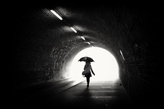 rainy days (Daz Smith) Tags: select dazsmith fujifilmxt3 xt3 fuji bath city streetphotography people candid portrait citylife thecity urban streets uk monochrome blancoynegro blackandwhite mono tunnel umbrella rainy silhouette woman