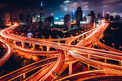 Intersections (Todd Danger Farr) Tags: shanghai sony sonyimages cityscapes nightphotography nightlights nightsky roadway intersection lighttrails city a7rii rooftopping china megacities architecture