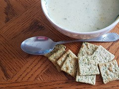 Homemade Cream of Celery soup (canadianlookin) Tags: celery soup crackers homemade
