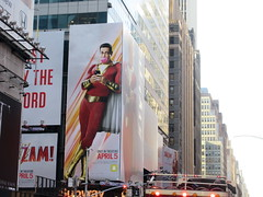 Shazam The Big Red Cheese Billboard 42nd St NYC 3716 (Brechtbug) Tags: shazam billboard 42nd street new captain marvel the big red cheese poster ad nyc 2019 times square movie billboards york city work working worker paint painting advertisement dc comic comics hero superhero alien dark knight bat adventure national periodicals publication book character near broadway shield s insignia blue forty second st fortysecond 03142019 lightning flight flying march