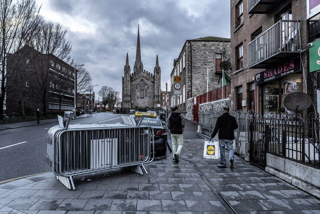 THE DAY BEFORE THE DUBLIN ST. PATRICK'S DAY PARADE [THE STAGING AREA FOR THE PARADE - LIMITED ACCESS TOMORROW TO THIS AREA OF THE CITY]-150008
