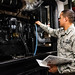 U.S. Airman checks the poil level on a diesel generator at Kunsan Air Base
