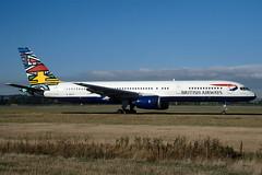 G-BIKC British Airways 'Ndebele Emmele' Boeing 757-236 at Edinburgh in October 1997 (Zone 49 Photography) Tags: aircraft airliner airlines airport aviation plane 1997 edi egph edinburgh turnhouse scotland ba baw british airways britishairways boeing757 boeing 757 200 236 gbikc ndebele emmly ndbeleemmly