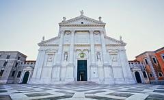 San Giorgio Maggiore Facade (khrawlings) Tags: sangiorgiomaggiore facade venice church triangle column door italy