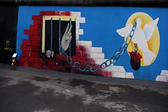 Peace (Anthony Mark Images) Tags: peace chain ballandchain rose dove brickwall jail prison streetart art wallmural paining berlinwall berlinermauer berlin formereastberlin germany deutschland europe sidewalk nikon d850