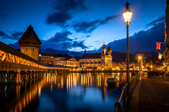 Lucerne (Chris Buhr) Tags: luzern lucerne blue hour blaue stunde blau gelb city stadt sunset sonnenuntergang leica m10 schweiz switzerland
