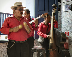 Live music with lunch. (Gerald Lau) Tags: holguin cuba 2019 musicians live red