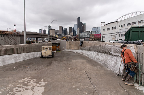 Building roadway barrier on the northbound tunnel on-ramp