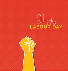 Happy International Labour Day on Red Background (graphicstall) Tags: white word woman success concept symbol communication button arm people thumb help humanhand person finger strategy labour day happy workers may red sign design card business holiday isolated banner celebration stars creative international silhouette posters message modern style mayday rights union background strong party employers freedom yellow emblem