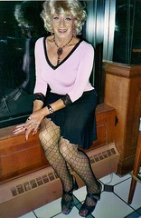 Ah, Yes, I Remember This Outfit Very Well (Laurette Victoria) Tags: legs heels patternedhose blonde necklace earrings laurette woman milwaukee eagans