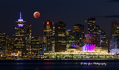 Lunar Eclipse over Downtown Vancouver, 20 January 2019 (PhotoDG) Tags: vancouver lunareclipse moon phase telephoto nightscape skycraper downtown sky 月食 lunar ef100400mmf4556lisusm skyline canadaplace harbour burrardinlet