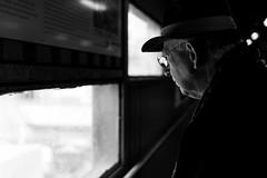 7116 (.niraw) Tags: stuttgart stuttgart21 s21 strasenfotografie hauptbahnhof tunnel niraw mann hut fenster baustelle ausblick brille licht schatten baugrube bw