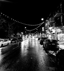 Hochelega Nights (Montreal) (MassiveKontent) Tags: winter snow street contrast noiretblanc blackwhite blancoynegro montreal hochelega bw city monochrome urban blackandwhite streetphoto montréal quebec streetphotography bwphotography streetshot android absoluteblackandwhite frozen mono cold road cars night nightshot cityatnight streetlights