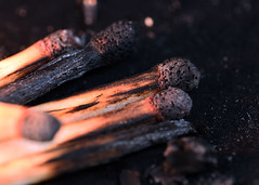 Away from the Fire (linda.addis) Tags: odc ourdailychallenge burnedburntburnerburning matches raynoxmacroscopiclens m250