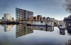 Westerdok Amsterdam (alowlandr) Tags: nopeople architecture bluesky reflection waterfront westerdok amsterdam