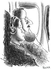 Airports and Planes 53 (Rick Tulka) Tags: paris newyork airportsandplanes airplanes caricature pencil drawing sketchbook airfrance