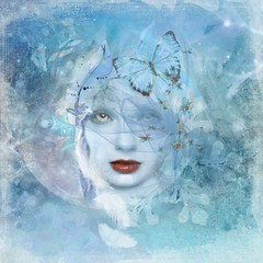Eis (Water to My Soul) Tags: woman face alien eyes blue butterfly feathers bokeh winter snowflakes abstract