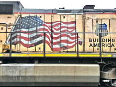 """Duty Bound"" (Halvorsong) Tags: train trains locomotive engine industry industrial power closeup composition railyard railroad traintracks explore discover unionpacific usa america americana classic vintage old oldschool art photography flag oldglory starsandstripes pride red white blue yellow redwhiteandblue patriotism honor duty photosafari halvorsong"