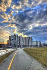 Way to neighborhood (malioli) Tags: path roat street urban sky clouds sun sunrays buildings sunset dusk karlovac croatia hrvatska europe canon
