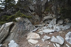 (i threw a guitar at him.) Tags: alaska outside outdoors klondike national park hidden secret location us graffiti cove rocks wild nature landscape message paint mystery