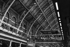 king cross  line n&b (Rudy Pilarski) Tags: nikon tamron thebestoffnikon thepassionphotography travel ville voyage londres london architecture architectura architectural line ligne perspective structure structural structura old ancien trip england europe europa nb bw bâtiment gare trainstation monochrome st pancras d7100 2470