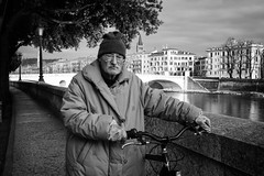 (Roberto Spagnoli) Tags: people fotografiadistrada streetphotography bicycle bicicletta biancoenero blackandwhite bw river fujix100t thoughts everydaylife verona streetportrait solitude