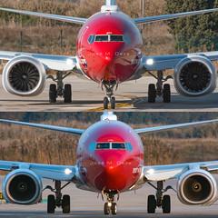 Norwegian B737-8MAX LN-BKF & B737-8JP EI-FHV (José M. Deza) Tags: 20190121 b7378max bcn boeing elprat lebl lnbkf norwegain planespotting spotter aircraft