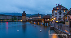 Chapel Bridge across the Reuss River, Lucern (Peter.Stokes) Tags: clouds colour colourphotography countryside europe landscape landscapes native nature outdoors panorama photo photography skies sky snow spring vacations water chapelbridge reussriver lucerne river