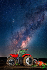Big Red - Astro Photography (Muzfox) Tags: astrophotography astro milkyway nightsky night nighttime core red tractor case optum gatton queensland australia rural farm country machinery