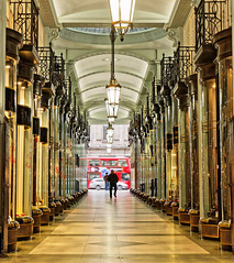 Piccadilly Arcade (Geoff Henson) Tags: mall arcade walkway subway shops people traffic lights glass balcony ceiling