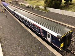 Class 156 (Callum's Buses and Stuff) Tags: hornby lima newcastleton soltire livery class156 156 class scotrail national express firstscotrail first station track oo