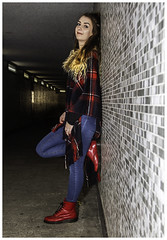 IMG_2002-Edit (Cauther Photography) Tags: canon scottish scotland female girl model beautiful subway tunnel underpass colour color leaning wall clothes fashion boots jeans hair eyes red blue