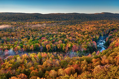 (Clint Everett) Tags: porcupinemountains fall autumn foliage landscape scenic nature morning mist sunrise trees color hills upperpeninsula michigan