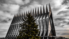 The Cadet Chapel in a different angle and light. (Kerstin Winters Photography) Tags: photography fotografie nikondsl nikondigital nikon flickr airforceacademy coloradosprings colorado abstractarchitecture building architecture airforce chapel