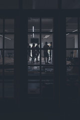 The Meeting (Corey Rothwell) Tags: jiujitsu hawaii honolulu bjj construction dark door window people