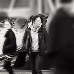 Framed..... (markwilkins64) Tags: streetphotography street candidportrait candid streetportrait juxtaposition monochrome mono blackandwhite bw london kensingtonhighstreet bokeh markwilkins blur motionblur movement glasses sunglasses