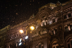 Snowfall in St. Petersburg. (Oleg.A) Tags: saintpetersburg night snowfall building russia street abstract city cityscape evening town snow exterior colorful old window architecture art house orange sky cold outdoor yellow ice petersburg st leningradoblast ru