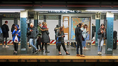 Whatever did we do before 'devices'? - Times Square Subway Platform, NYC (TravelsWithDan) Tags: subway nyc newyork people candid streetphotography timessquaresubwayplatform devices lookingatphones noconversation underground metro city urban ngc