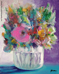Just a fun loosen up painting exercise to get the day started. (Howie Green) Tags: flowers floral vase glass purple painting