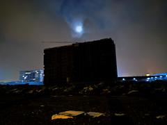 swirl (the tin drummer) Tags: moon swirl nightshot nokia7plus cloudy lowlight urban lanscape buildingsite night