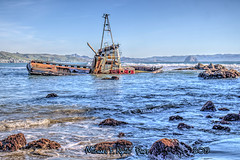 Every Man For Himself! (Michael F. Nyiri) Tags: cayucos california abandoned sinkingship vessel boat northerncalifornia pacificocean sea
