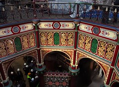 'Octagon' painted ornamental ironwork - Beam Engine House, Crossness pumping station, 1865. (edk7) Tags: olympuspenliteepl5 edk7 2016 uk england london londonse2 londonboroughofbexley erithmarshes abbeywood crossnesssewagetreatmentworks thameswater thecrossnessenginestrust crossnesspumpingstation 1865 formermetropolitanboardofworkssouthernoutfallworkssewagepumpingstation sirjosephbazalgette charleshenrydriver southernoutfallsewer gradeilisted victorian romanesque industrial architecture building oldstructure beamenginehouse paintedornamentalironwork octagonformalentrance