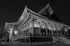 Senso-Ji Temple (Goddess of Mercy) at Night - Asakusa, Tokyo, Japan (TravelsWithDan) Tags: sensojitemple city urban night asakusa tokyo japan building blackandwhite monochrome bw canong3x