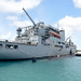 USS Oklahoma City moors next to USNS Cesar Chavez during an exercise in Apra Harbor, Guam